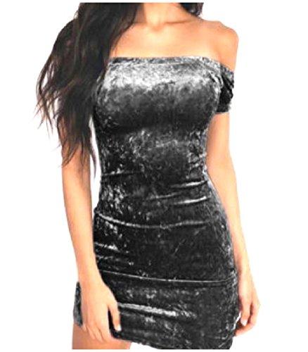 Coolred-femmes Enveloppées Velours Sexy Haute Boîte De Nuit Chic, Doux Taille Haute Silm Forme Robe Noire