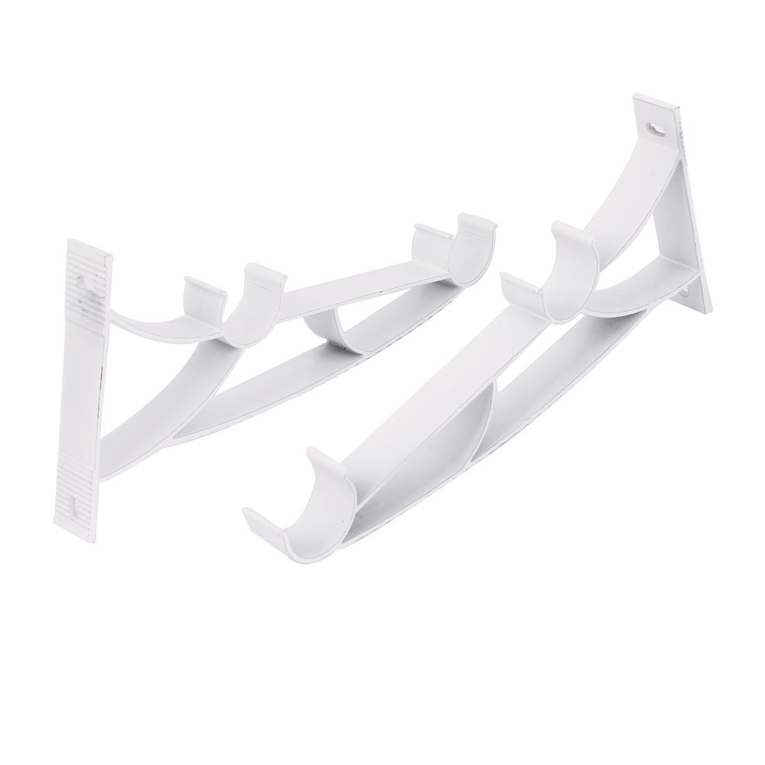 1-inch Dia Double Drapery Curtain Rod Metal Wall Bracket White 2pcs uxcell a14121900ux0399