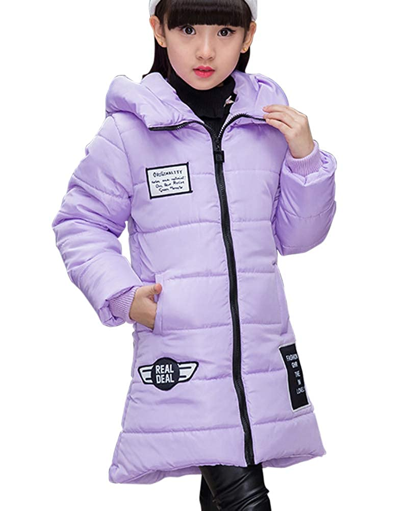 Quge Piumino Bambina Invernale Giacca Lungo Cappuccio Cappotto Snowsuit per Bambini