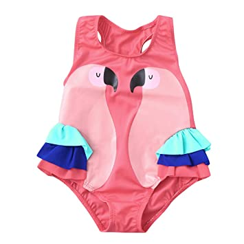 cb27ef3068 Little Girls One Piece Swimsuit Bird Ruffle Beach Swimwear Swimpool Bathing  Suit Swim Rash Guard Romper