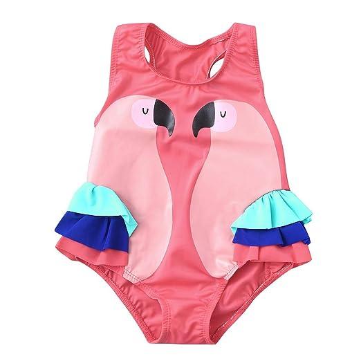 82bc170356 Amazon.com: Baby Kids Girl Swimsuit Sleeveless Animal Print Ruffle Romper Swimwear  Clothes: Clothing