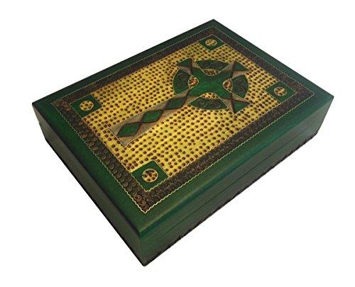 Wooden Bible Box - Celtic Cross Box Irish Green Wooden Keepsake Handcrafted Polish Wood Decorative Box w/Brass Inlay