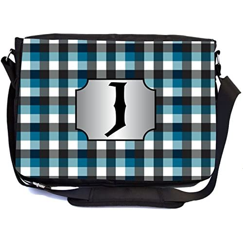 "Rikki Knight Letter ""J"" Initial Blue Black Grey Plaid Monogrammed Design Messenger School Bag (mbcp-cond46013)"