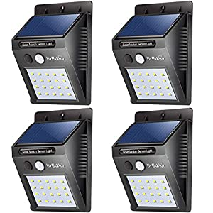 20 LED Solar Lights Outdoor,LivEditor Waterproof Solar Powered Motion Sensor Light Wireless Security Lights Outside Wall Lamp for Driveway Patio Garden Path - 4 Pack