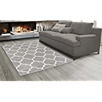 Sweet Home Stores King Collection Moroccan Trellis Design Area Rug, 710 X 910, Grey
