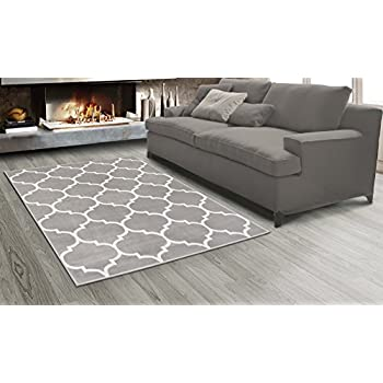 "Sweet Home Stores King Collection Moroccan Trellis Design Area Rug, 64"" L x 84"" W, Grey"