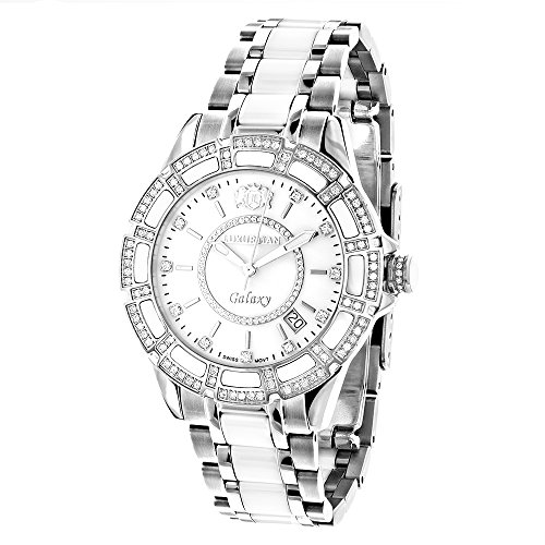 Swiss Quartz Ladies Diamond Watches: Stainless Steel and White Ceramic Watch 1.25ct MOP Luxurman (Mop Quartz Watch)