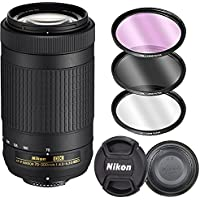 Nikon AF-P DX NIKKOR 70-300mm f/4.5-6.3G ED Zoom Lens for D3300, D3400, D5300, D5500, D5600, D7500, D500 Digital SLR Cameras ONLY with 3 Piece Filter Kit (White Box)
