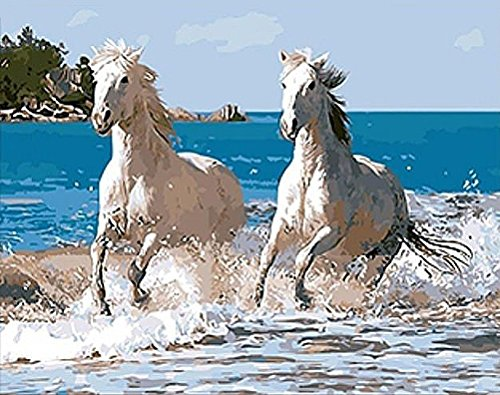 JynXos Wooden Framed Paint By Number Linen Canvas DIY Painting - Horse Run in Water