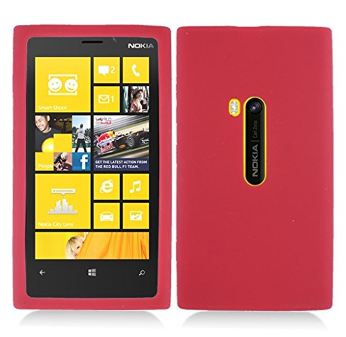 Nokia Cell Phone Faceplates (Nokia Lumia 920 case, Luckiefind Ultra Thin Rugged Silicone Gel Skin Rubber Cover Case Accessory. (Skin Red))