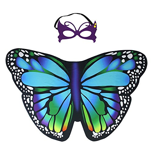 Kids Fairy Butterfly Wings Costume and Mask for Toddler Girls Dress up Pretend Play Birthday Party Favor (#04 Butterfly Wings Set) -