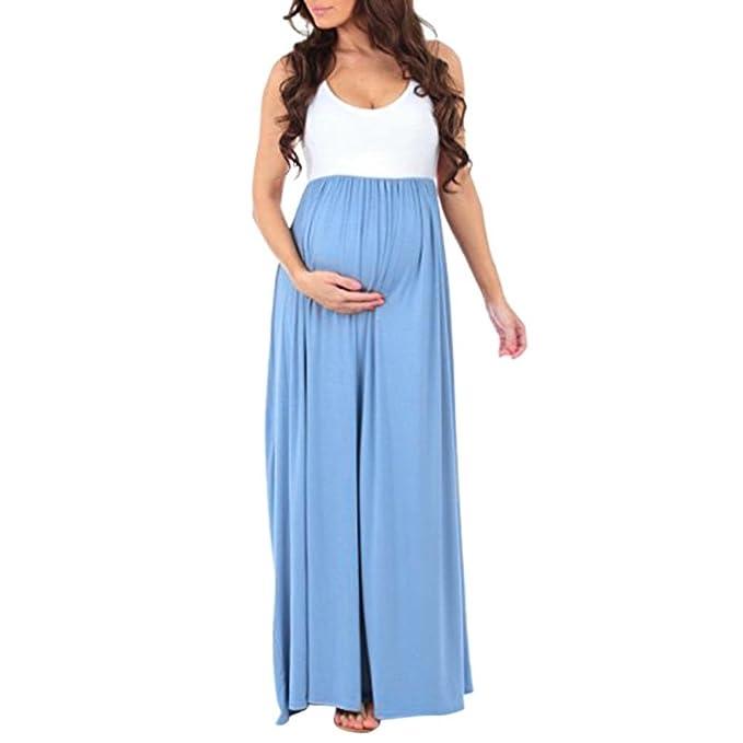 Amphia Vestido Embarazadas Ropa, Vestido de Maternidad sin Mangas con Pliegues Embarazadas sin Mangas de