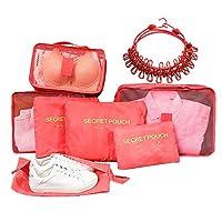 Dalanpa Packing Cubes 8 Set with Shoe Bag & Travel Elastic Clothesline - Compression Travel Luggage Store Organizer