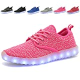 EQUICK Kids Led Light Up Shoes Fashion Breathable Knitting Children Casual Running Sneakers (Little Kid/Big Kid),YZ02,Pink,28