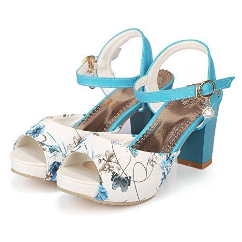 AllhqFashion Mujeres Cuero Peep Hebilla Tacón ancho Colores Surtidos Sandalia Azul