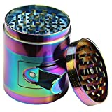 DCOU New Design Rainbow Grinder 2.2 Inches 4 Piece Tobacco Grinder with Pollen Catcher Durable Zinc Alloy Herb Spice Heavy Duty Grinder with Scrapper and Easy Access Window