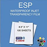 "WATERPROOF INKJET SCREEN PRINTING FILM TRANSPARENCY 8.5"" X 11"" 100 SHEETS 4 MIL"