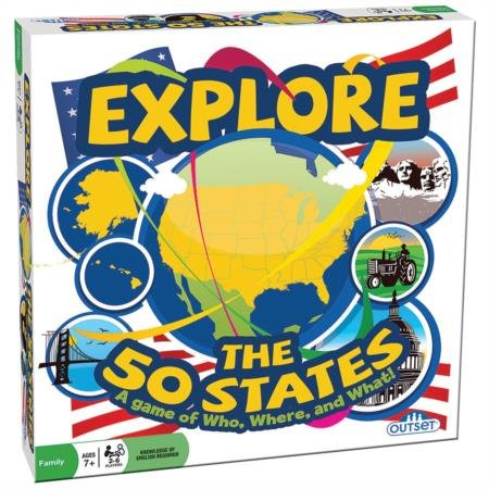 Outset Media - Explore the 50 States Board Game - Test Your Knowledge, Learn and Explore the 50 States - Ages 7+ (State Game Board)