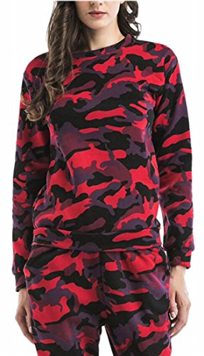 Print Pullover 1 Sleeve today UK Sweatshirt Long Women Camouflage Classic fWvfTHY74q