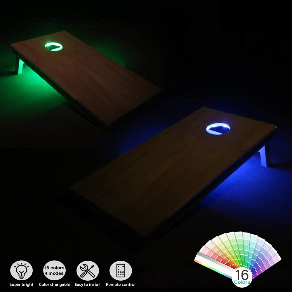 Toss Bean Bag Game Lights Backyard Board Game Lights,Tailgate Game,Remote Control heartbeats LED Cornhole Lights Ring kit,16 Colors Multicolor Changing Type Board Hole Lights Set of 2 pcs