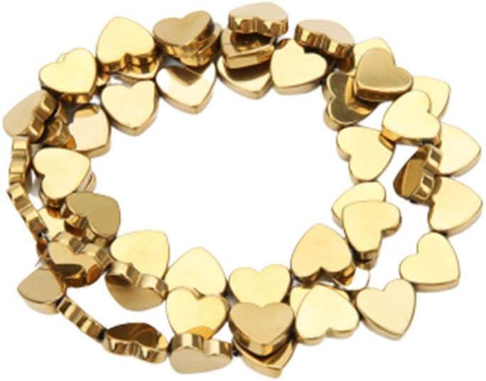HEALLILY 50Pcs Cuentas de Hematita Cuentas de Corazón de Piedra de Energía Natural Corazón Piedras Preciosas Cuentas Sueltas Accesorios de Fabricación de Joyas para Collar Pulsera 8Mm (Dorado)