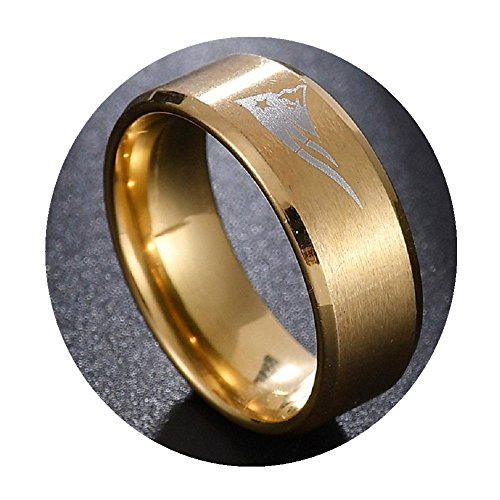 FlyStarJewelry New England Patriots Football Gold Titanium Steel Men Sport Ring Band Size 6-13 - Gold New Football England Patriots