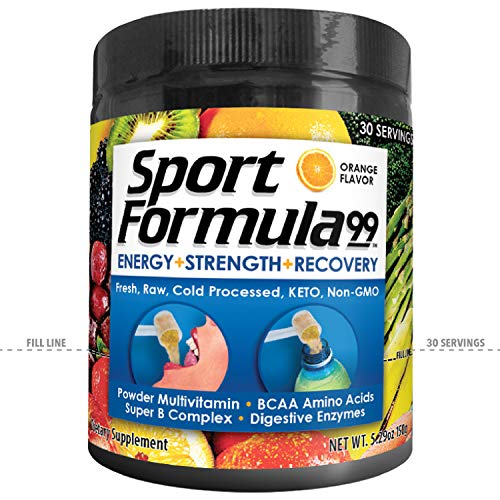 Vegan Superfood Daily Keto MultiVitamin for Men and Women Won't Upset Your Stomach: BCAA BCCA Amino Acid. Orange Drink Mix Powdered Digestive Enzymes Vitamin B Energy Complex Natural Flavoring ()