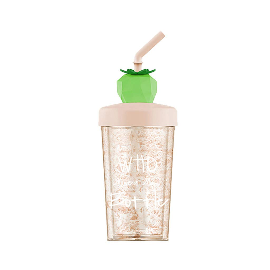 Straw Water Cup, Summer Fruit Ice Cup, Straw Plastic Gift Cup, Girl Child Juice Mixing Cup 270ml (D)