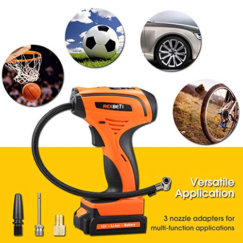REXBETI Tire Inflator, Portable 12V Cordless Air Compressor for Tires, with Rechargeable Lithium-ion Battery and 12V Car Power Adapter, Easy to Read Digital Pressure Gauge, LED Lighting, 150PSI by REXBETI (Image #6)