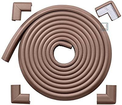 Roving Cove | Baby Proofing Edge & Corner Guards | Safe Edge & Corner Cushion | Child Safety Furniture Bumper | Table Protectors | Pre-Taped Corners | 16.2 ft [15 ft Edge + 4 Corners] | Coffee brown