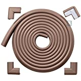 Roving Cove® 16.2 ft (15ft Edge + 4 Corners) 'Safe Edge® and Corner Cushion' - Value Pack - COFFEE; Premium Childproofing Edge Corner Guard - PRE-TAPED CORNERS; Child Safety Home Safety Furniture Bumper and Table Edge Corner Protectors