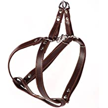 Logical Leather Adjustable Dog Harness - Heavy Duty Quick Release Genuine Leather Harness - Brown