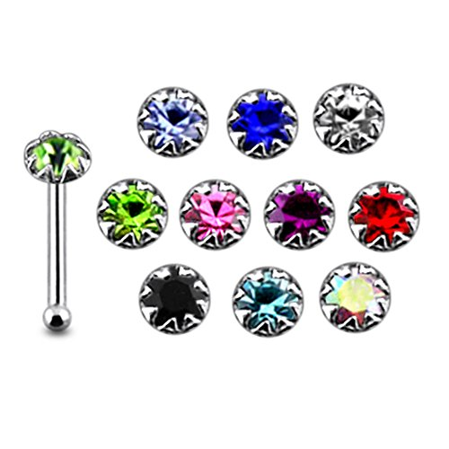 - Pack of 20 Pieces Mix Color 22G Sterling Silver Flower Set Ball End Nose Pin Stud