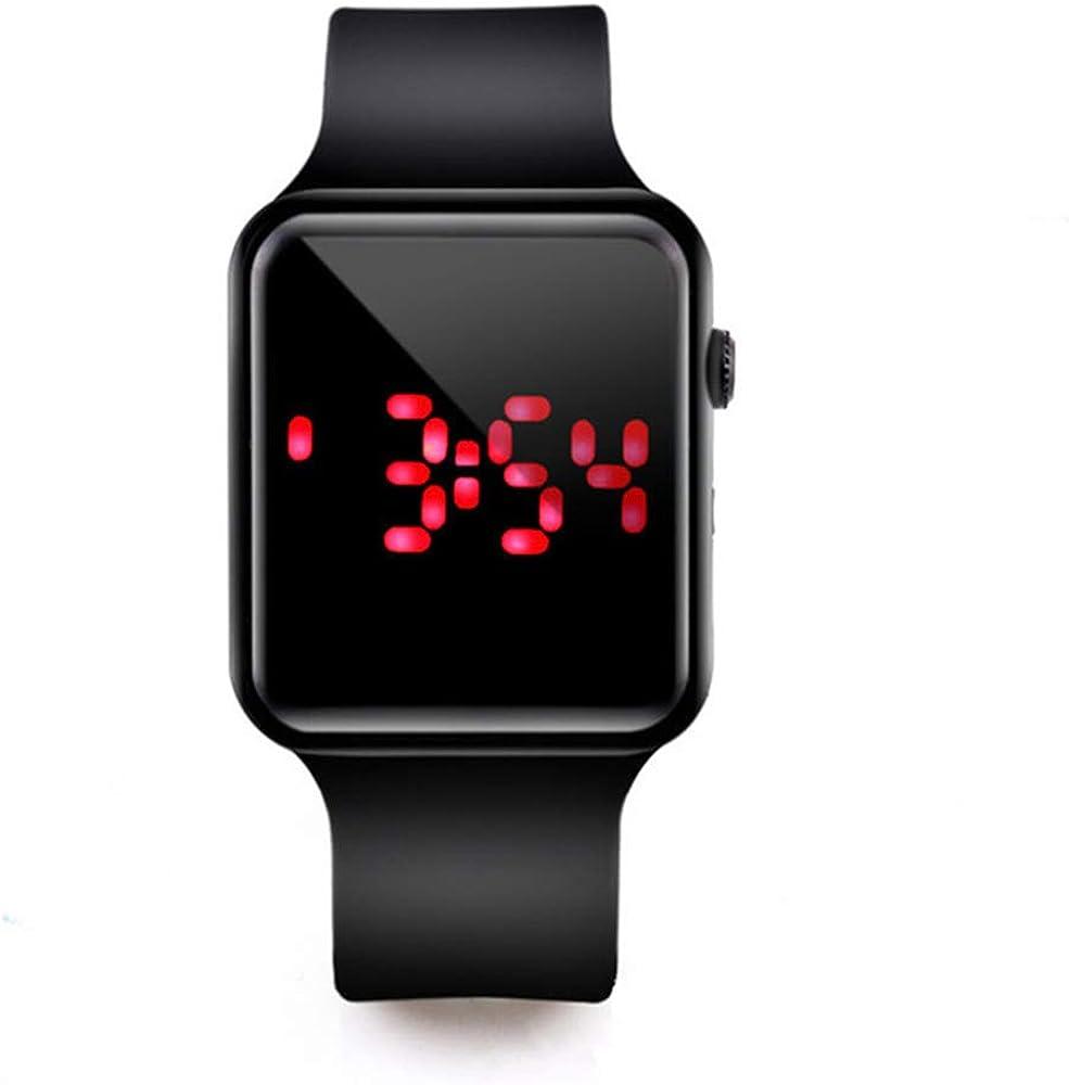 RRWL Reloj LED Deportivo y de Ocio para Mujer Reloj Digital Unisex Reloj de Pulsera de Silicona para Parejas Regalos navideñosNegro Negro