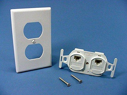 Leviton 41367-IDW Telephone Type 106 Duplex Insert Flush Wall Jack White