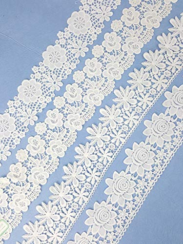 Ivory White Cotton Lace Trim Rolls Assorted Patterns Lace Ribbon Cream Vintage for Sewing DIY Making and Bridal Wedding Decorations 8 Yards TR2 Bundle (Wide Trim x4))