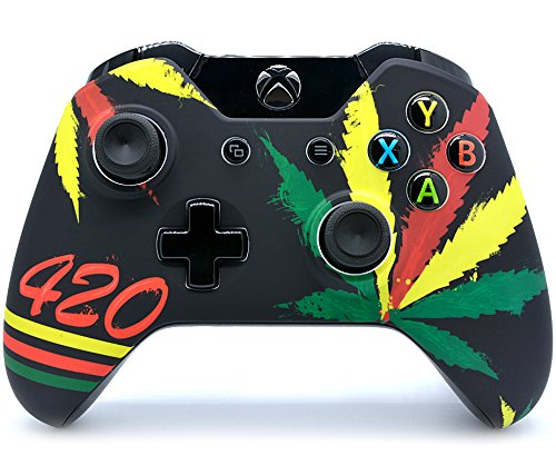 """""""420"""" Xbox One Rapid Fire Custom Modded Controller 40 Mods for All Major Shooter Games, Auto Aim, Quick Scope, Auto Run, Sniper Breath, Jump Shot, Active Reload & More (3.5 mm jack)"""