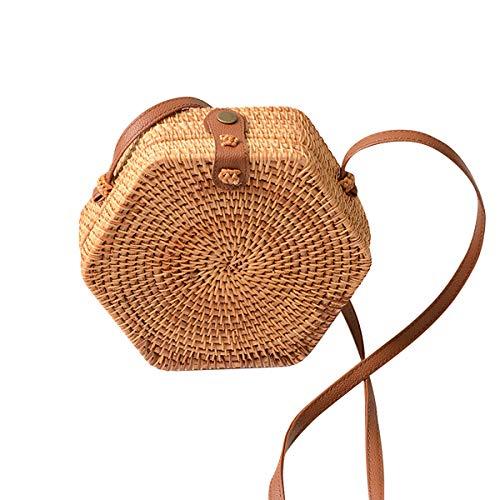 Shoulder Beaded Bag Leather (Summer Hexagon Straw Bamboo Handbag for Women Boho Rattan Bags With Leather Bag Shoulder Strap Womens Brown Beaded bag Crossbody Beach Tote Messenger)