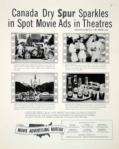 1948 Ad Canada Dry Spur Soda Movie Theater Advertising Spot Drink Pop Beverage - Original Print Ad from PeriodPaper LLC-Collectible Original Print Archive