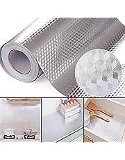 Adesivo de papel de parede Studyset para cozinha, forro de prateleira, 2/3/5 m, autoadesivo, de alumínio, à prova d'água, resistente a altas temperaturas, para cozinha, fogão, armário, gaveta
