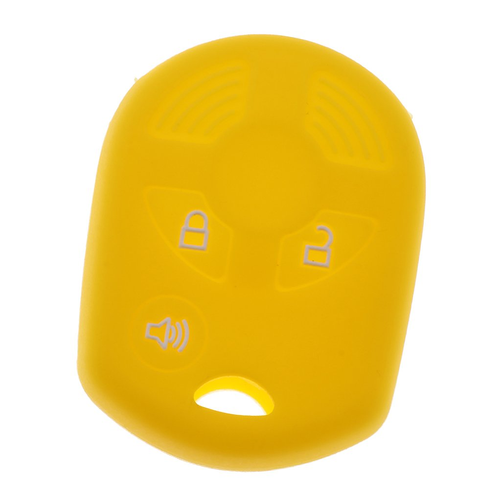 MonkeyJack Silicone Key Protective Cover 3 Buttons Key Fob Case for Ford Kuga Fashion Color - Yellow