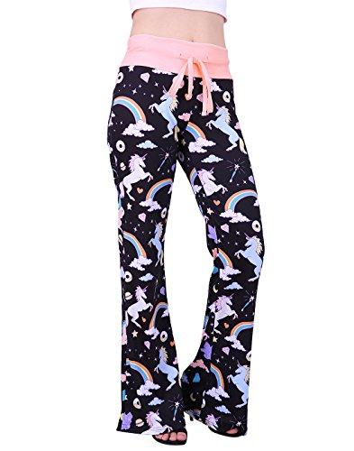 HDE Womens Cotton Pajama Pants Wide Leg Sleepwear Casual Loose Lounge PJ Bottoms (Unicorns and Rainbows, 3X) ()