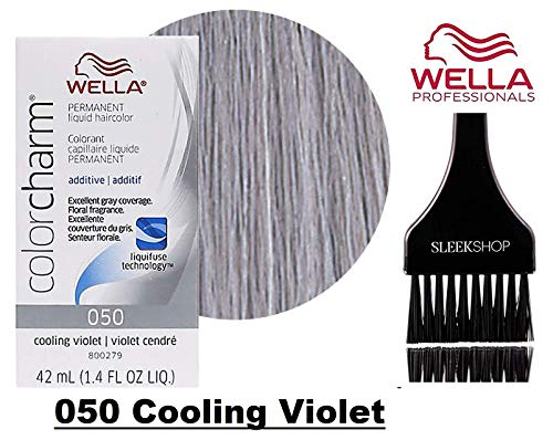 Wella COLOR CHARM PERMANENT Liquid Haircolor Dye (w/Sleek Tint Brush) Excellent Gray Coverage, Floral Fragrance, 1:2 Mix Ratio Hair Color (050 Cooling Violet #50)
