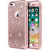 iPhone 6s Plus Case, iPhone 6 Plus Case, Hython Heavy Duty Defender Protective Case Bling Glitter Sparkle Hard Shell Armor Hybrid Shockproof Rubber Bumper Cover for iPhone 6s Plus /6 Plus - Rose Gold