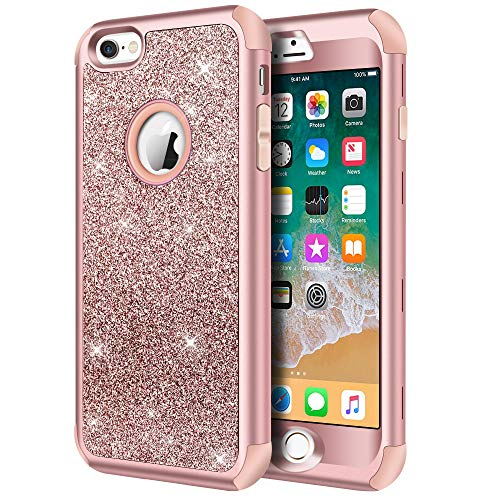 iPhone 6s Case, iPhone 6 Case, Hython Heavy Duty Full-body Defender Protective Case Bling Glitter Sparkle Hard Shell Armor Hybrid Shockproof Rubber Bumper Cover for iPhone 6 and 6s 4.7-Inch, Rose Gold (Girl Iphone Cases Under 5 Dollars)