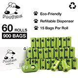 PooPalz Pet Waste Disposal Bags - 900 Eco-Friendly Poop Bags Free Dispenser Clip