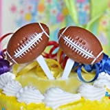 8 Football Cupcake Picks Cake Topper NFL Superbowl Party Food Appetizer Picks