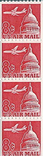 (1962 Air Mail 8 Cent US Postage Stamp Coil Of 4 MNH Scott)