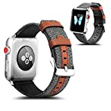 Apple Watch Band, Mosafe 42mm Nylon with Genuine Leather Sport Replacement Strap Wrist Band with Metal Adapter Clasp for Apple Watch iWatch Series 3 Series 2 Series 1 (Grey)