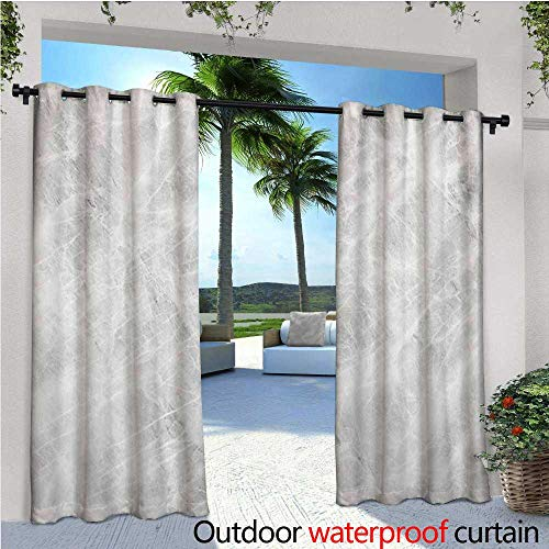 or Blackout Curtains Abstract Soft Pastel Toned Onyx Stone Background with Grunge Effects Image Outdoor Privacy Porch Curtains W72 x L108 Pale Grey White ()